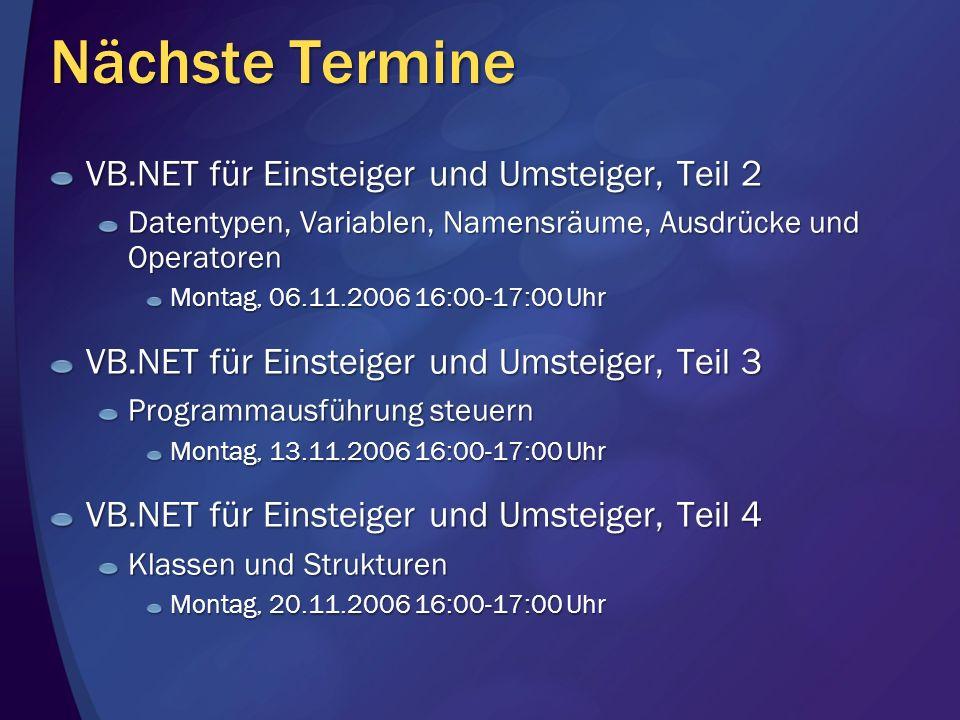 Nächste Termine VB.NET für Einsteiger und Umsteiger, Teil 2