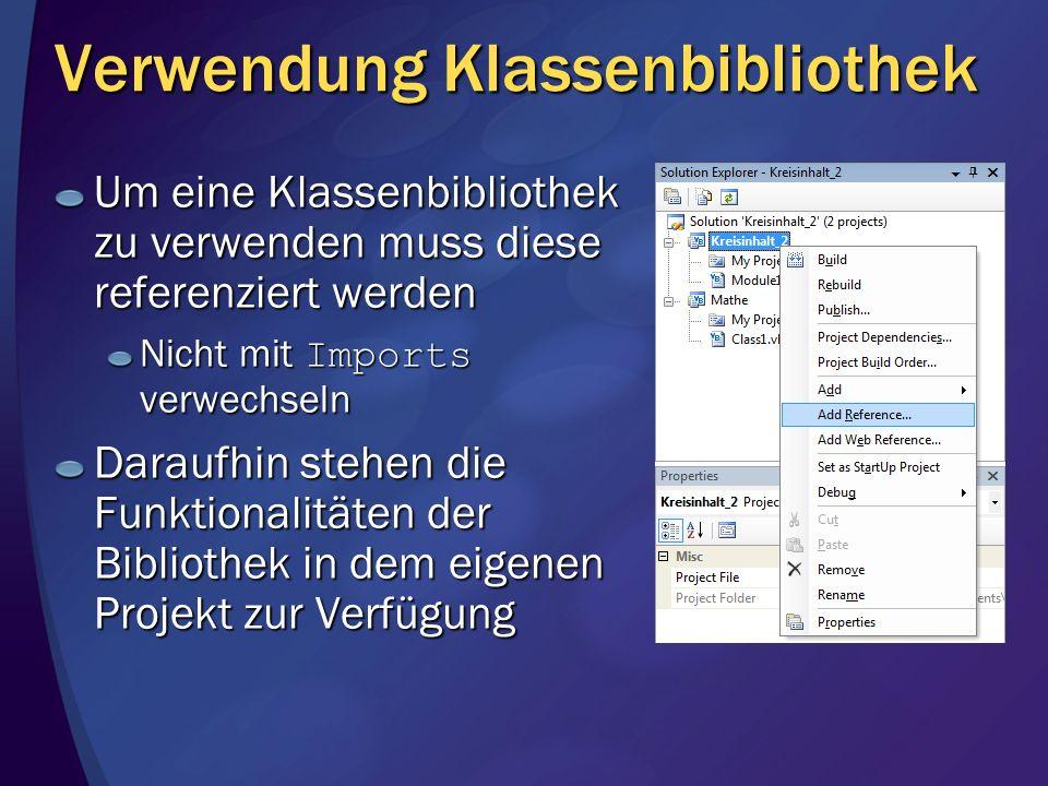 Verwendung Klassenbibliothek