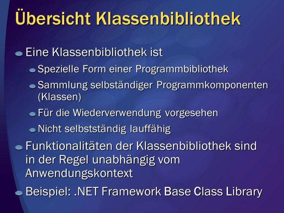 Übersicht Klassenbibliothek