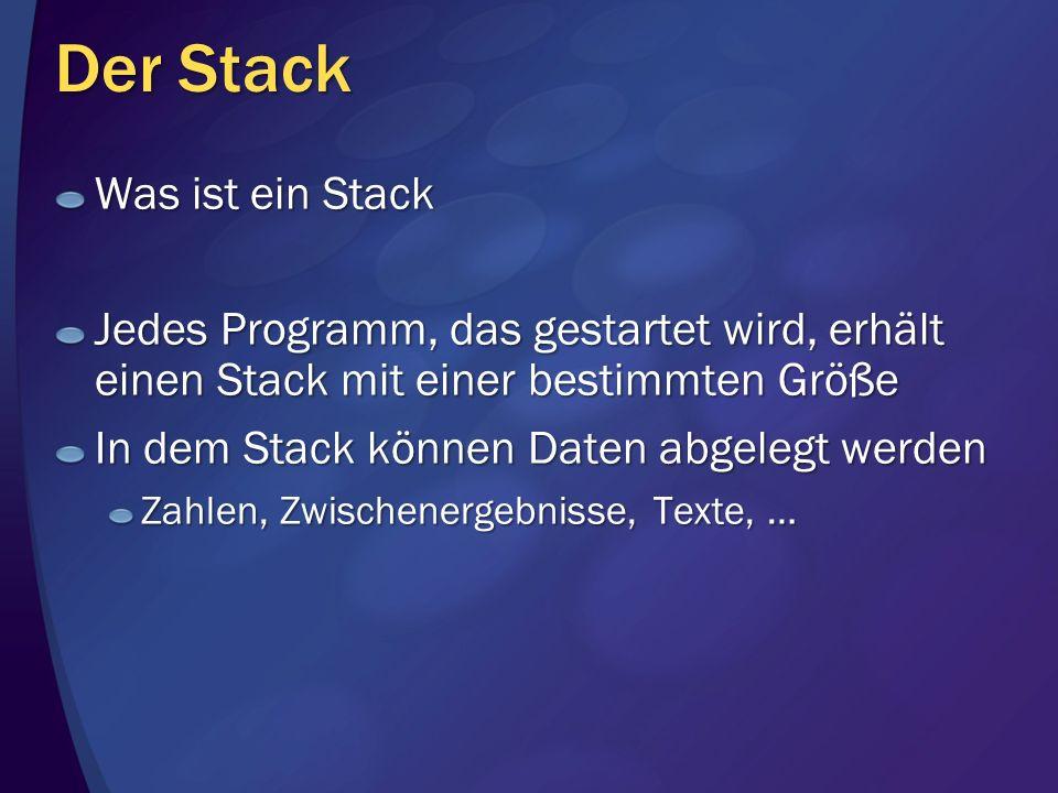 Der Stack Was ist ein Stack