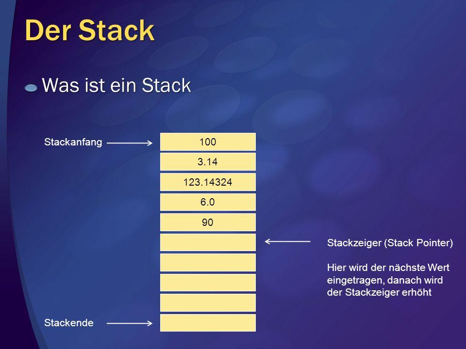 Der Stack Was ist ein Stack Stackanfang 100 3.14 123.14324 6.0 90