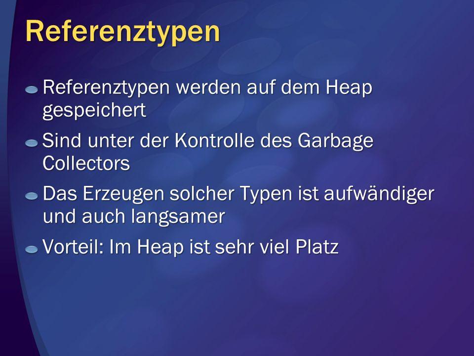 Referenztypen Referenztypen werden auf dem Heap gespeichert