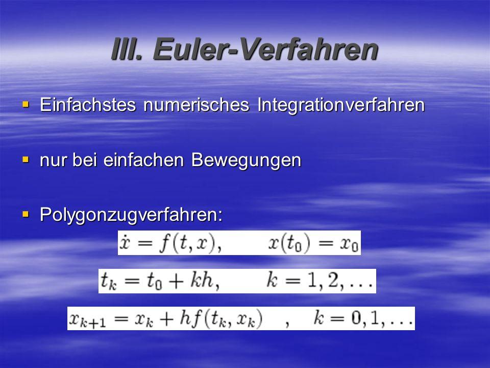 III. Euler-Verfahren Einfachstes numerisches Integrationverfahren