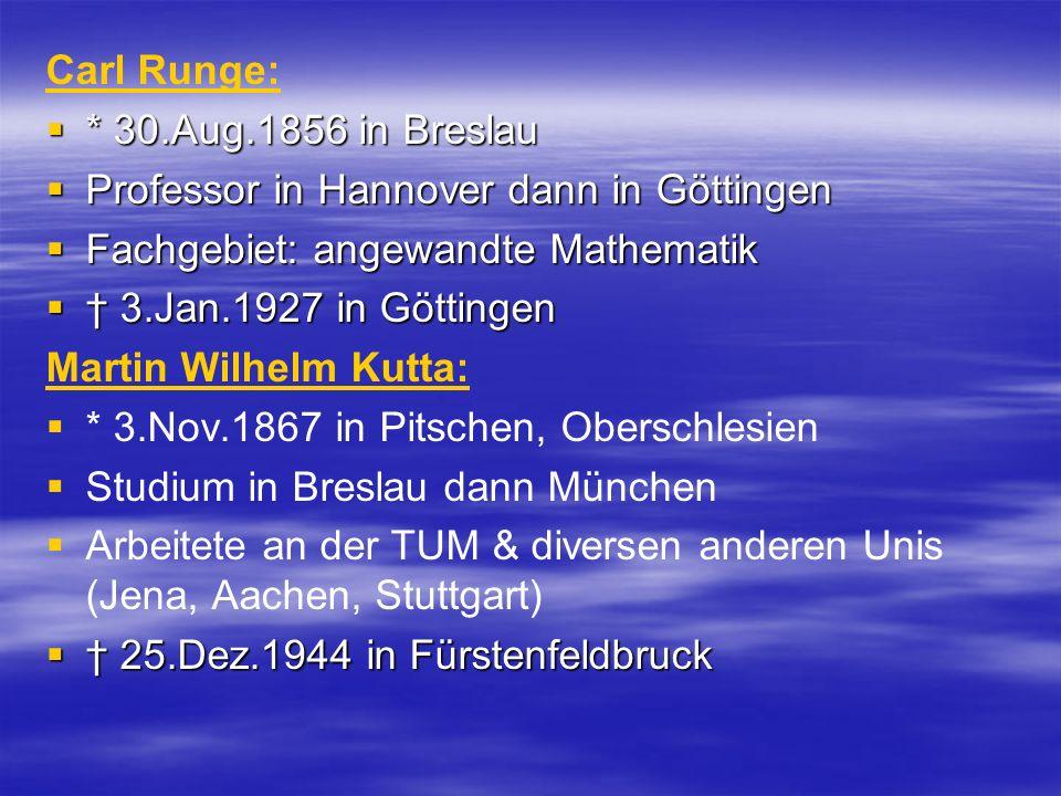 Carl Runge: * 30.Aug.1856 in Breslau. Professor in Hannover dann in Göttingen. Fachgebiet: angewandte Mathematik.