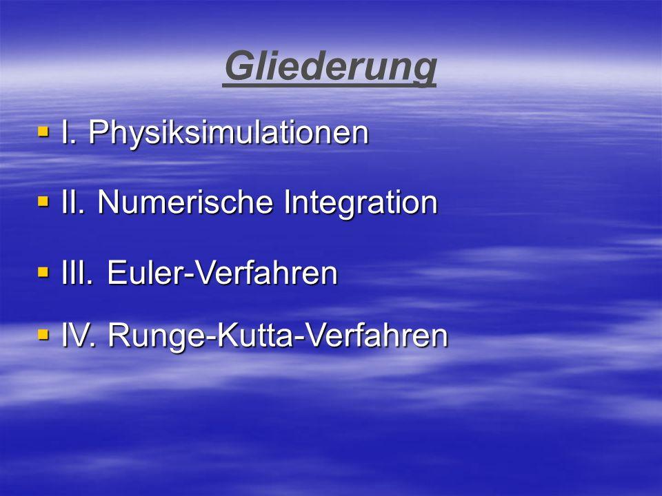 Gliederung I. Physiksimulationen II. Numerische Integration