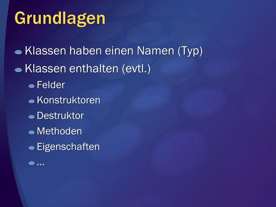 Grundlagen Klassen haben einen Namen (Typ) Klassen enthalten (evtl.)