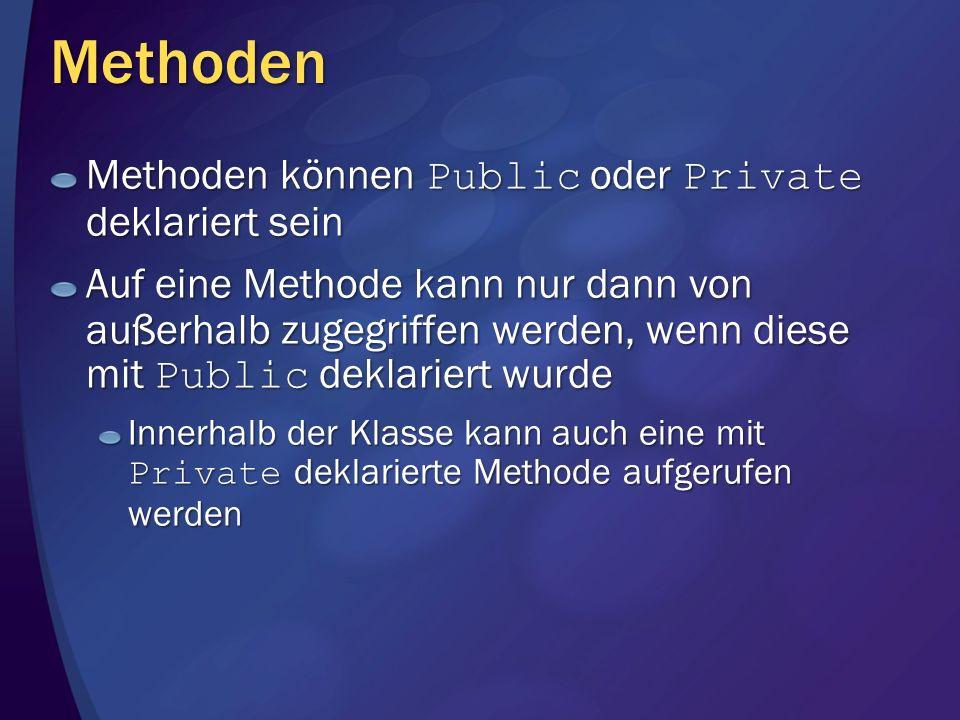 Methoden Methoden können Public oder Private deklariert sein