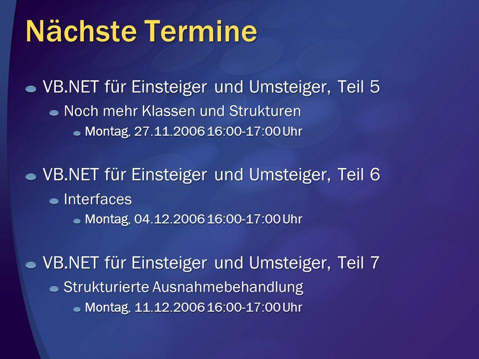 Nächste Termine VB.NET für Einsteiger und Umsteiger, Teil 5