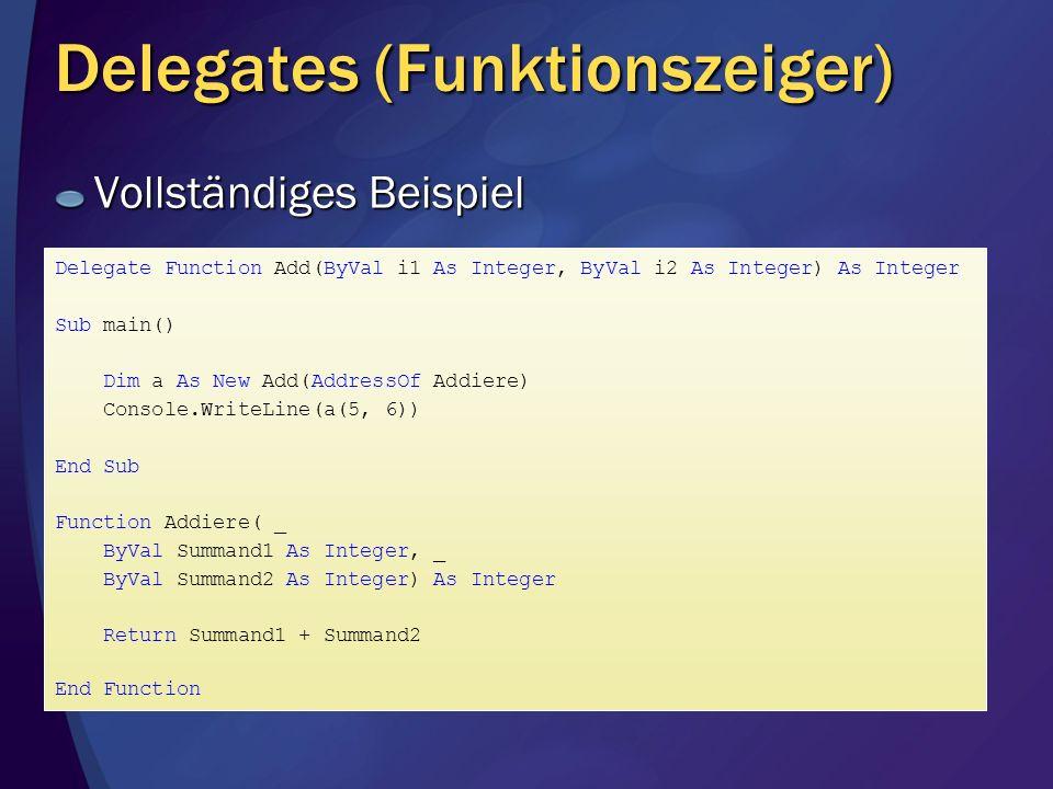 Delegates (Funktionszeiger)