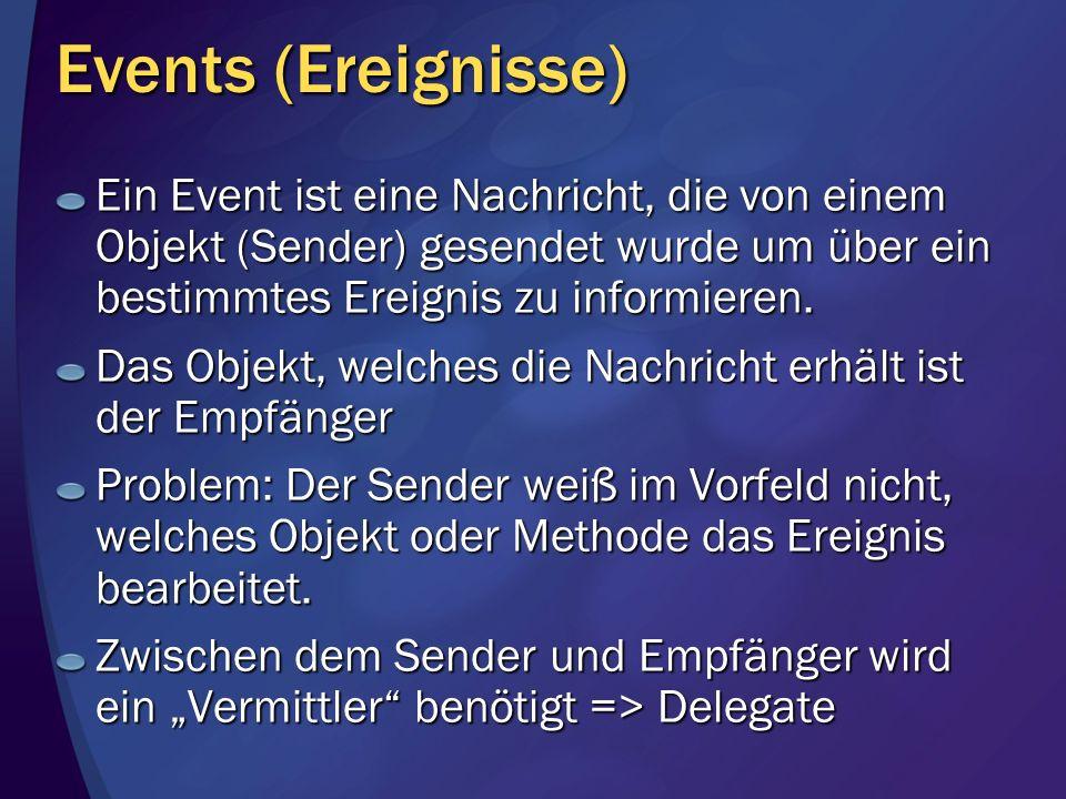 Events (Ereignisse) Ein Event ist eine Nachricht, die von einem Objekt (Sender) gesendet wurde um über ein bestimmtes Ereignis zu informieren.