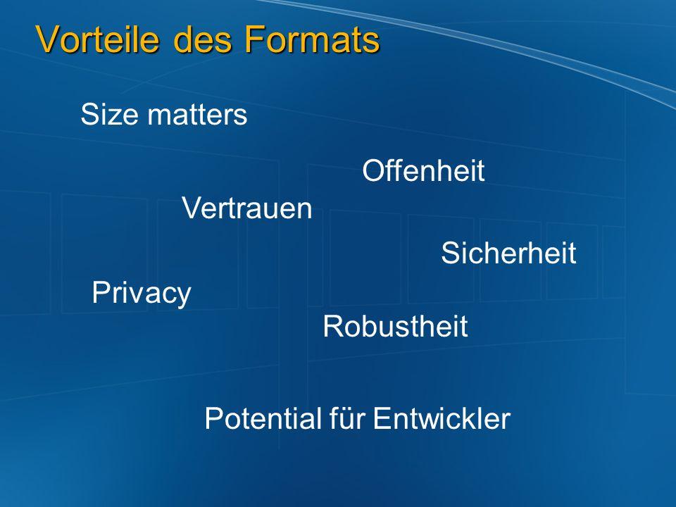 Vorteile des Formats Size matters Offenheit Vertrauen Sicherheit