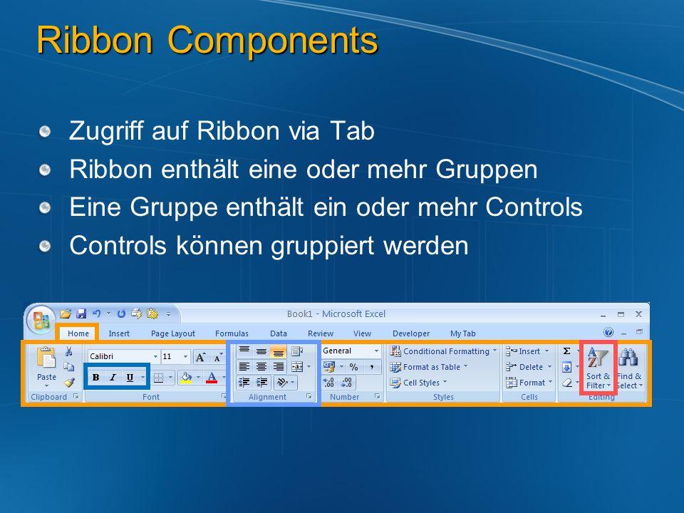 Ribbon Components Zugriff auf Ribbon via Tab