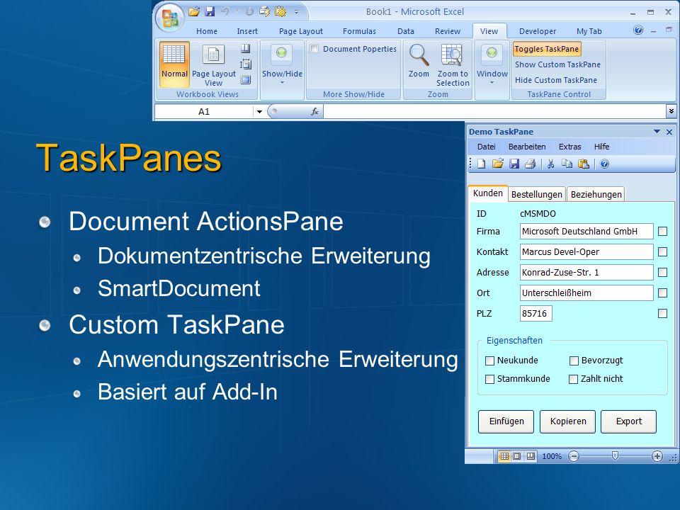 TaskPanes Document ActionsPane Custom TaskPane