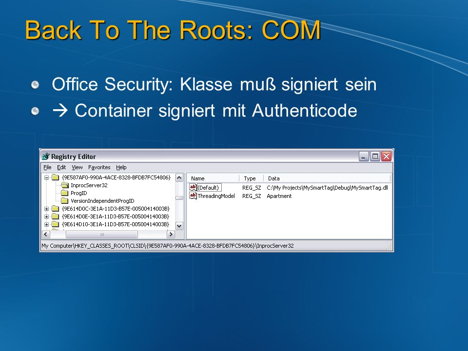 Back To The Roots: COM Office Security: Klasse muß signiert sein