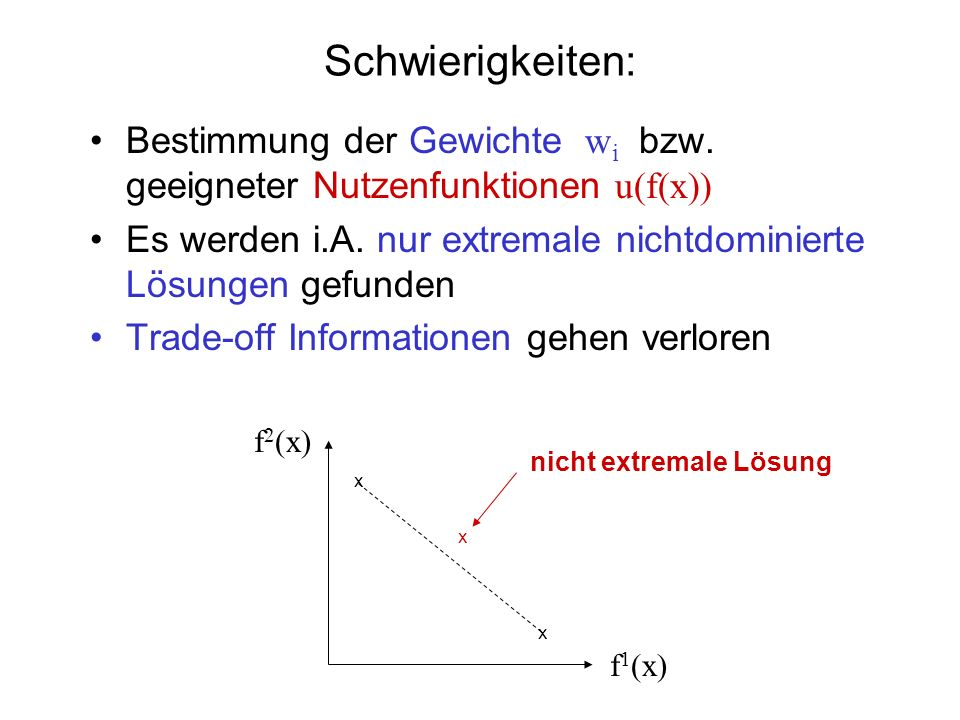 Schwierigkeiten: Bestimmung der Gewichte wi bzw. geeigneter Nutzenfunktionen u(f(x))