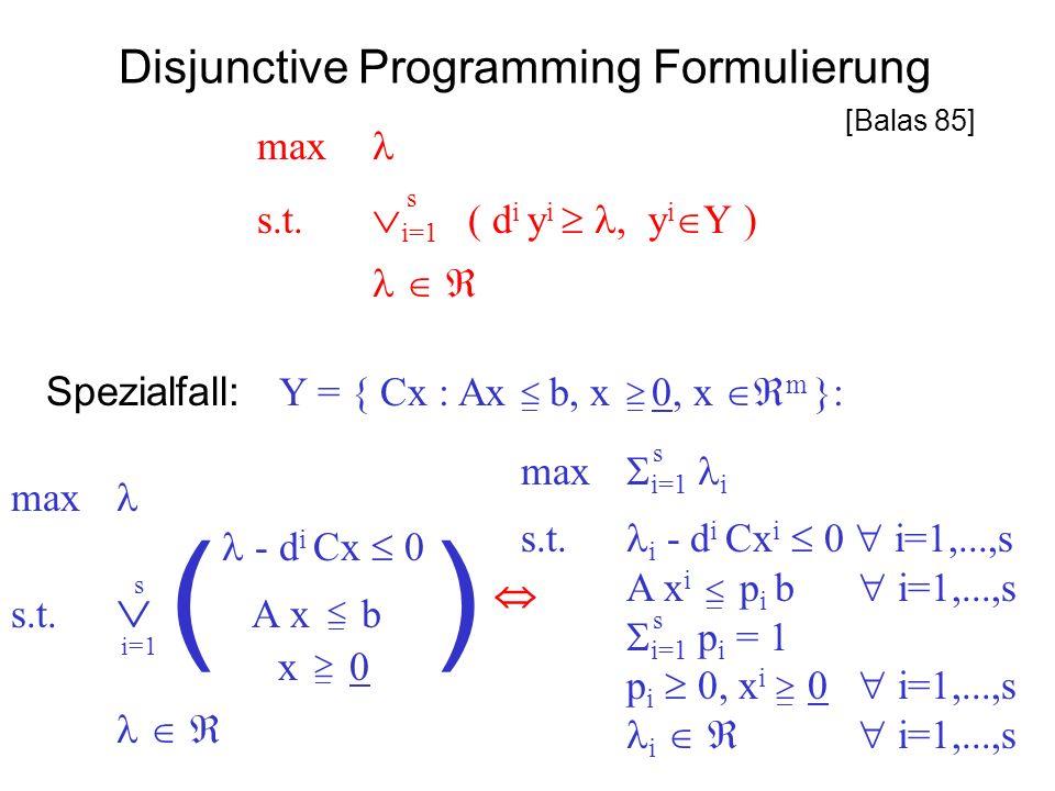 Disjunctive Programming Formulierung