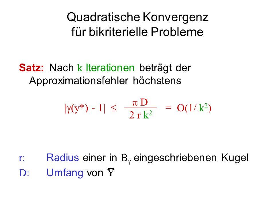 Quadratische Konvergenz für bikriterielle Probleme