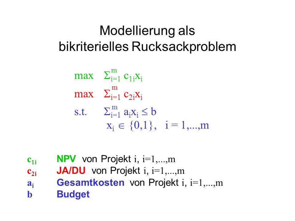 Modellierung als bikriterielles Rucksackproblem