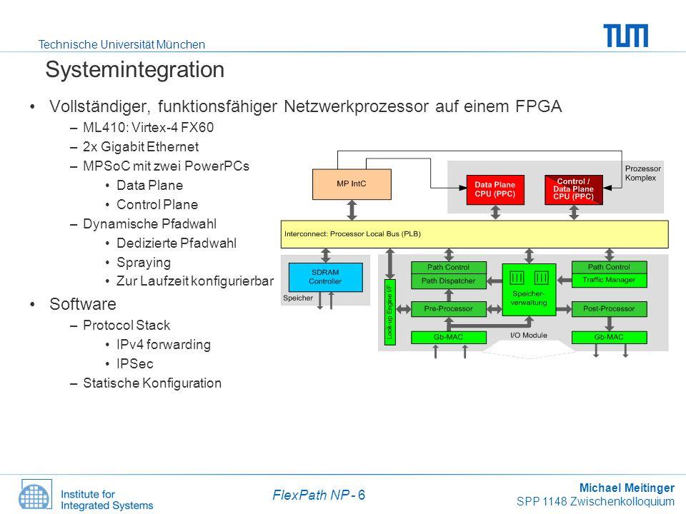 Systemintegration Vollständiger, funktionsfähiger Netzwerkprozessor auf einem FPGA. ML410: Virtex-4 FX60.