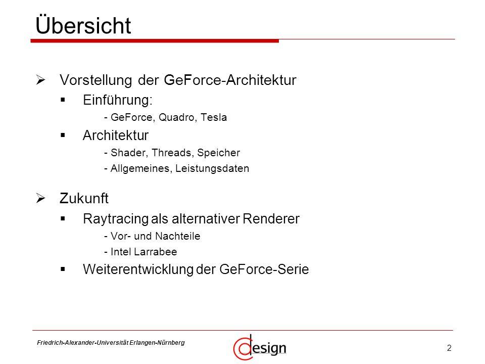 Übersicht Vorstellung der GeForce-Architektur Zukunft Einführung: