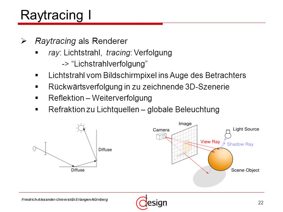 Raytracing I Raytracing als Renderer