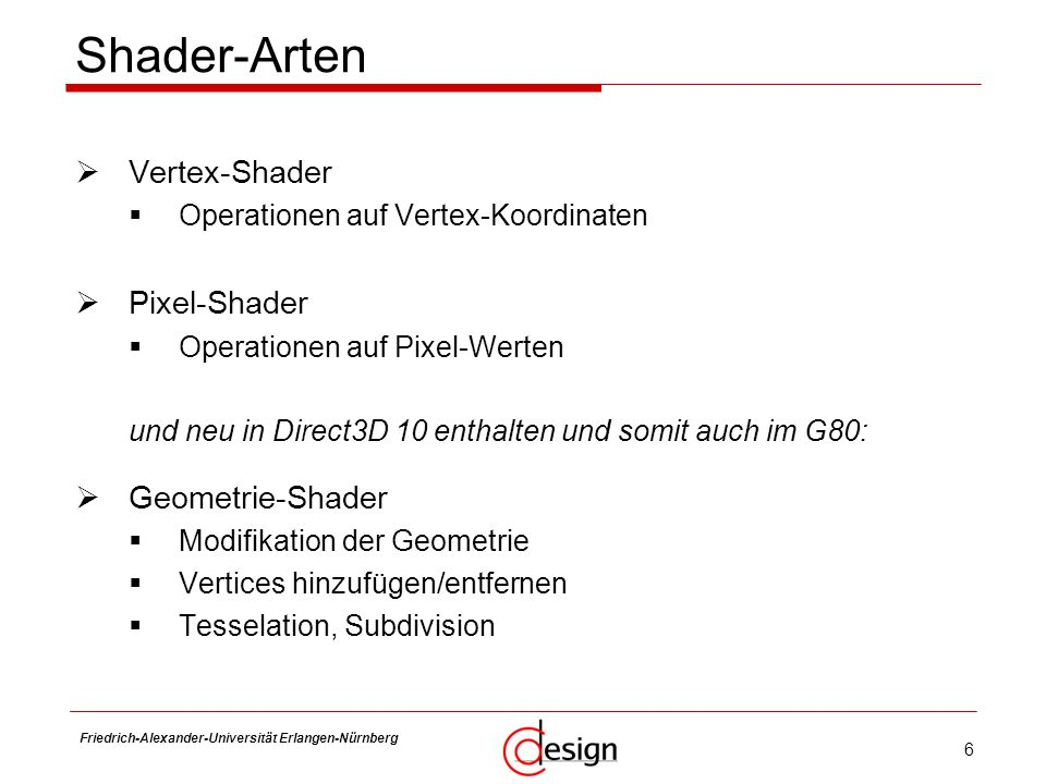 Shader-Arten Vertex-Shader Pixel-Shader Geometrie-Shader