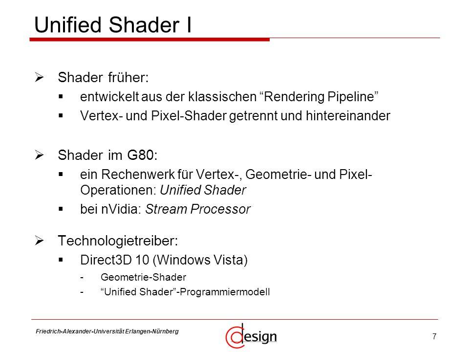 Unified Shader I Shader früher: Shader im G80: Technologietreiber: