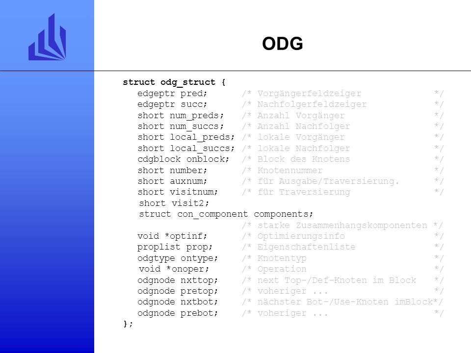 ODG struct odg_struct { edgeptr pred; /* Vorgängerfeldzeiger */