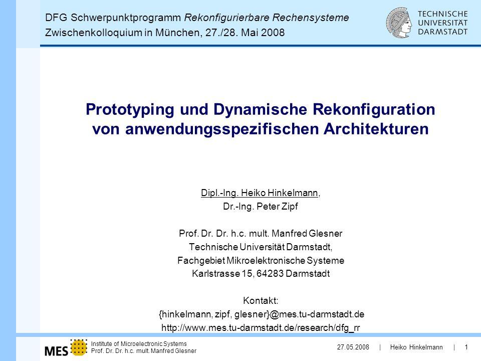 DFG Schwerpunktprogramm Rekonfigurierbare Rechensysteme