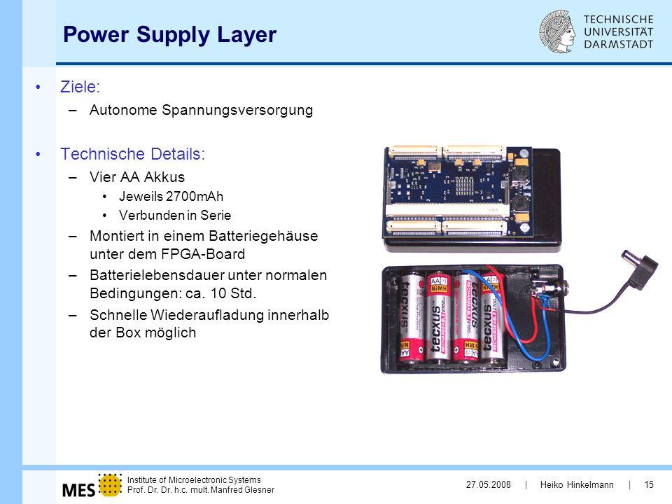 Power Supply Layer Ziele: Technische Details: