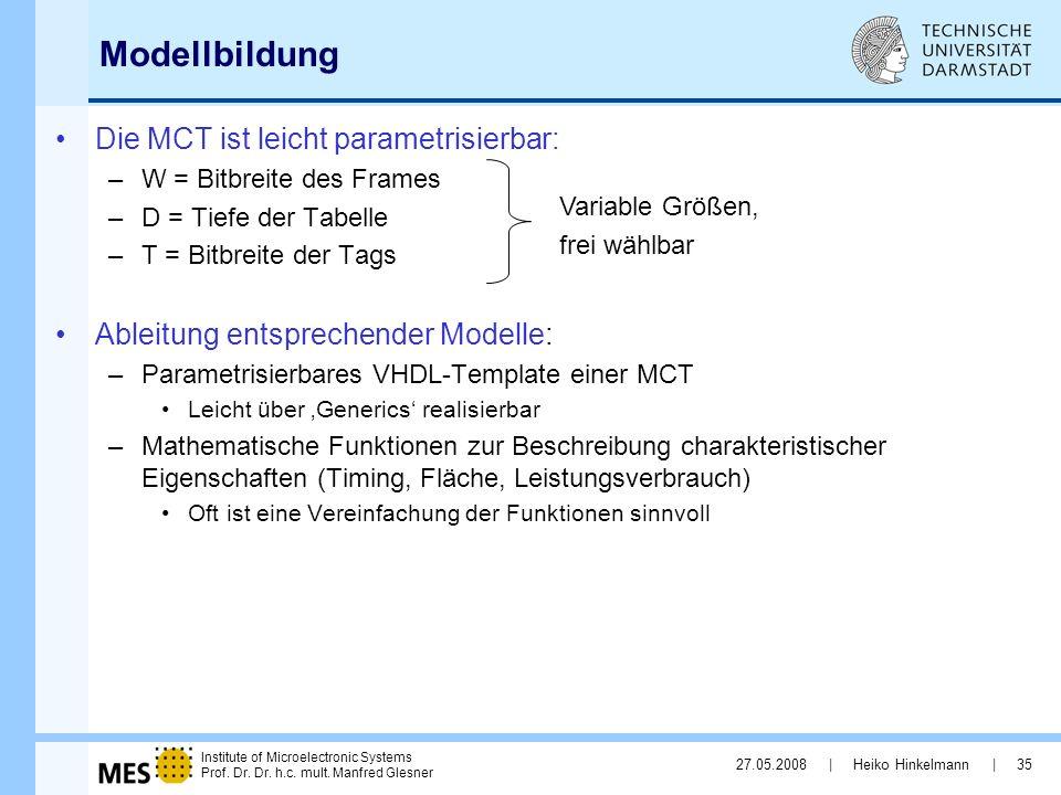 Modellbildung Die MCT ist leicht parametrisierbar: