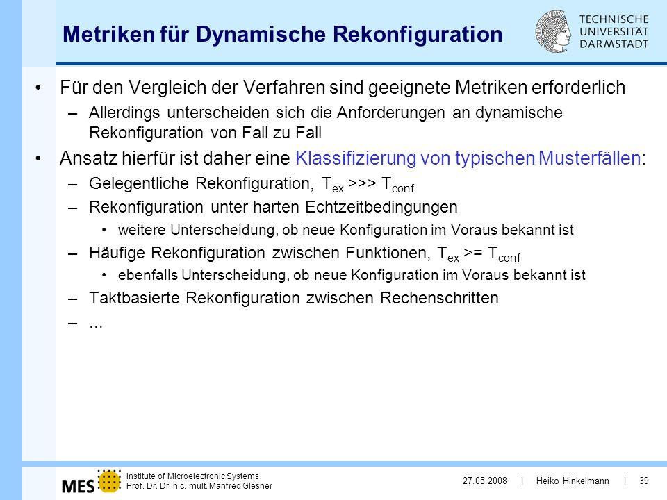 Metriken für Dynamische Rekonfiguration