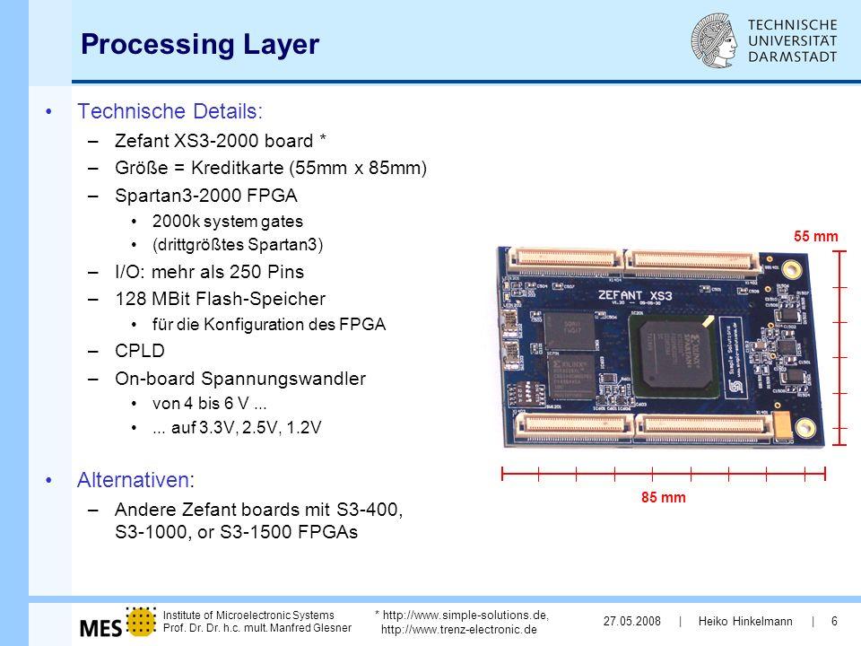 Processing Layer Technische Details: Alternativen: