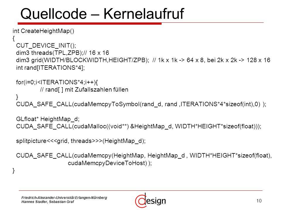 Quellcode – Kernelaufruf