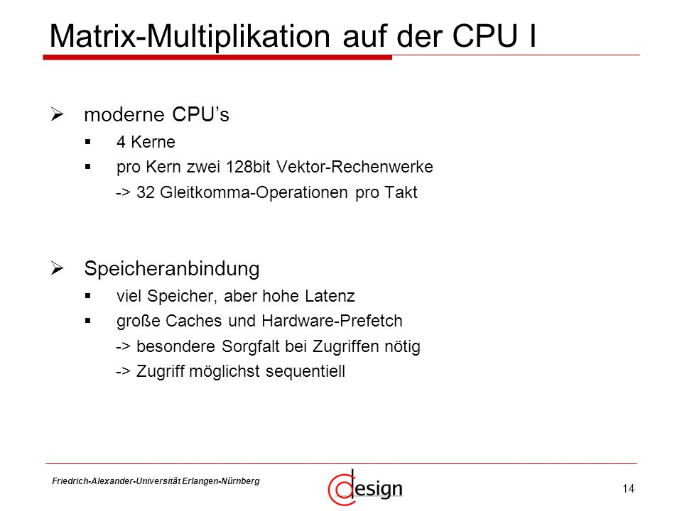 Matrix-Multiplikation auf der CPU I