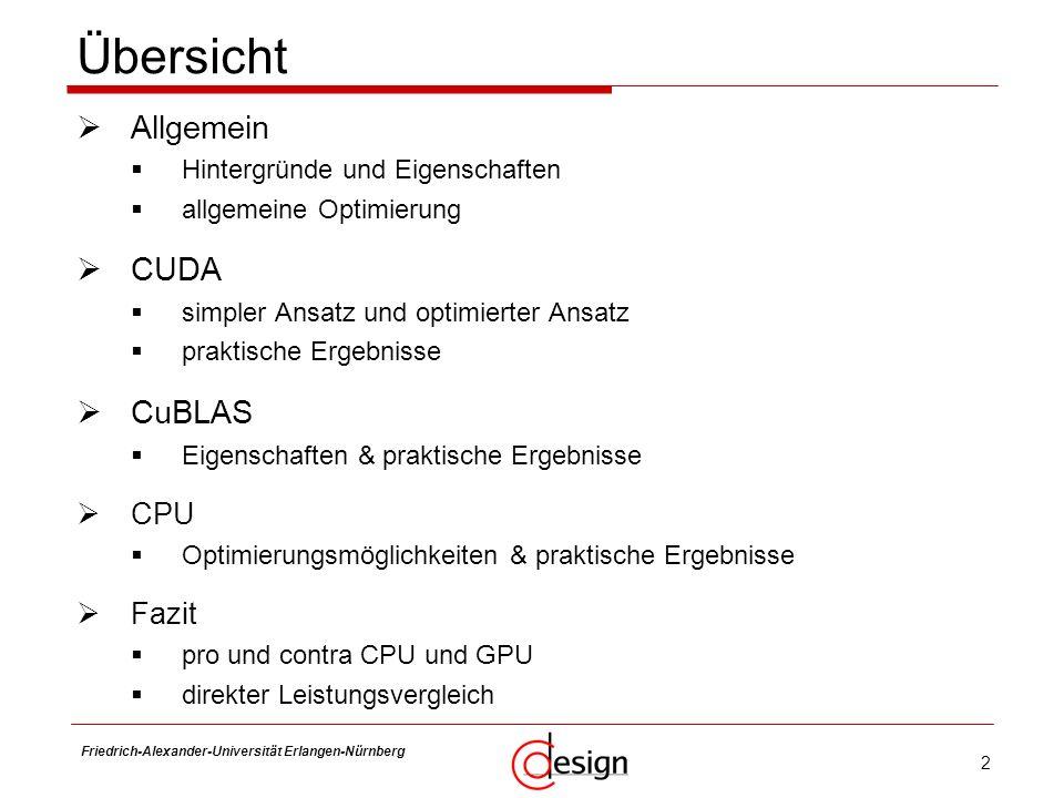 Übersicht Allgemein CUDA CuBLAS CPU Fazit