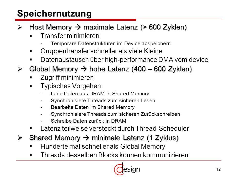 Speichernutzung Host Memory  maximale Latenz (> 600 Zyklen)
