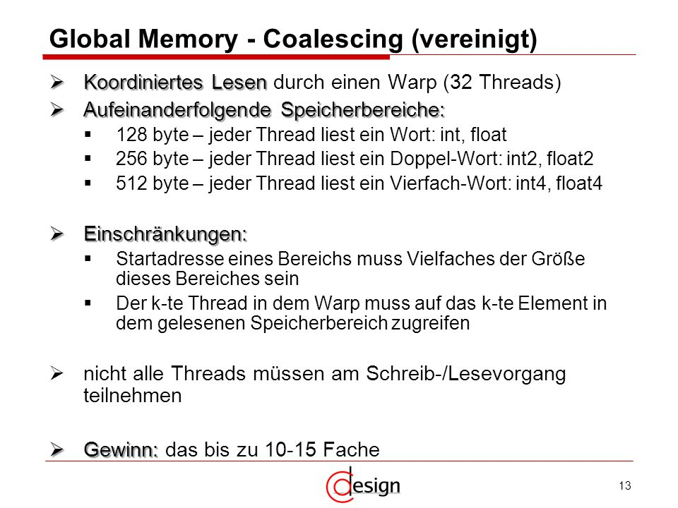 Global Memory - Coalescing (vereinigt)