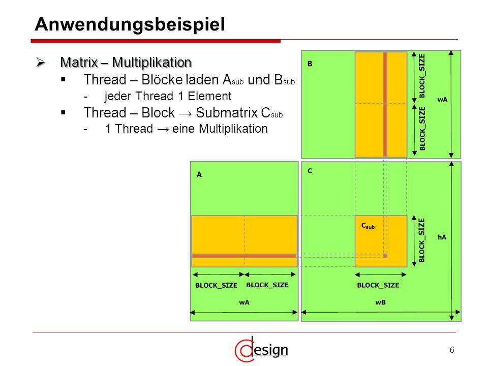 Anwendungsbeispiel Matrix – Multiplikation