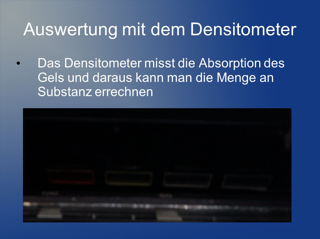 Auswertung mit dem Densitometer