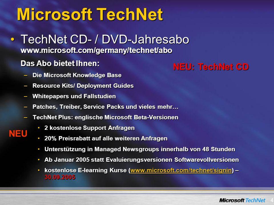 Microsoft TechNet TechNet CD- / DVD-Jahresabo www.microsoft.com/germany/technet/abo. Das Abo bietet Ihnen: