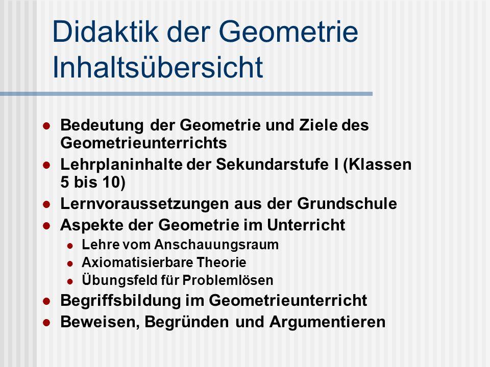 Didaktik der Geometrie Inhaltsübersicht