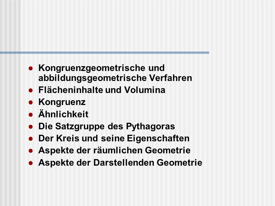Kongruenzgeometrische und abbildungsgeometrische Verfahren