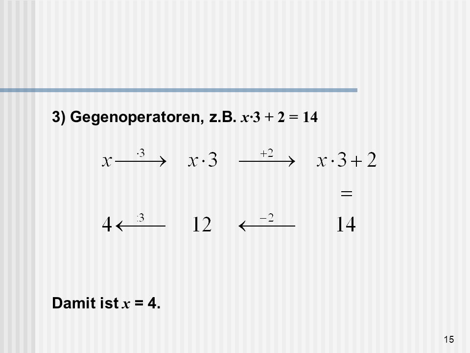 3) Gegenoperatoren, z.B. x·3 + 2 = 14