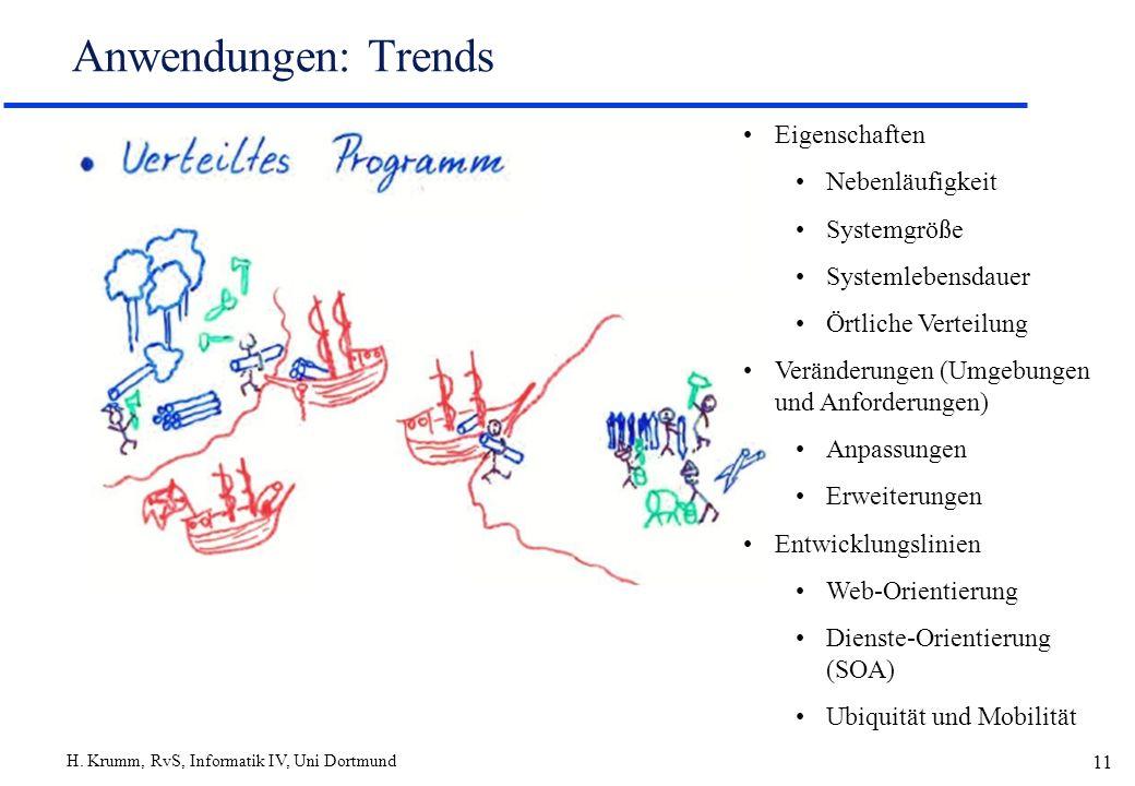 Anwendungen: Trends Eigenschaften Nebenläufigkeit Systemgröße