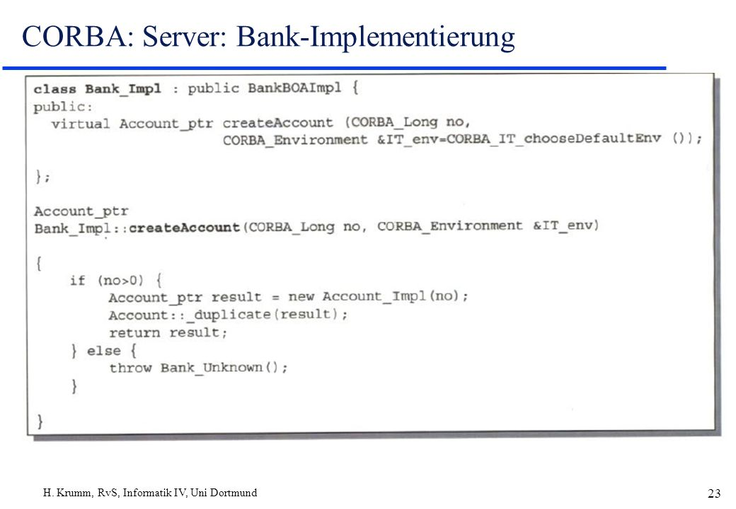 CORBA: Server: Bank-Implementierung