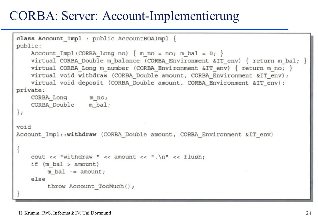 CORBA: Server: Account-Implementierung