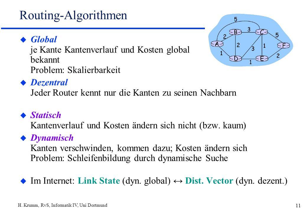 Routing-Algorithmen Global je Kante Kantenverlauf und Kosten global bekannt Problem: Skalierbarkeit.