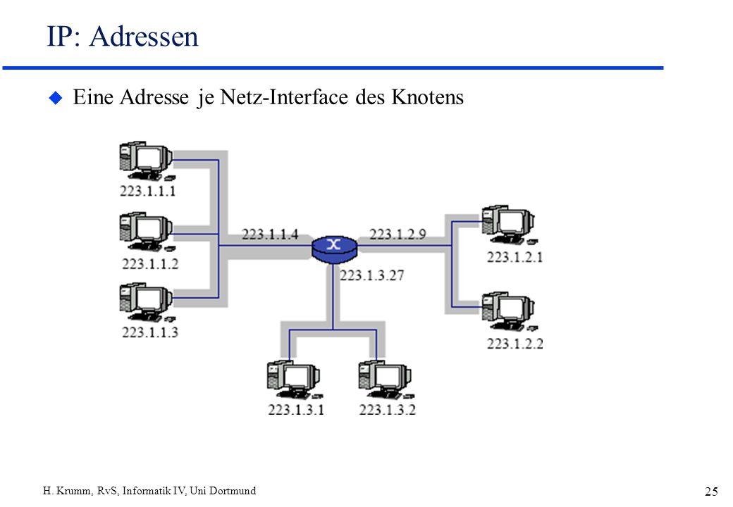 IP: Adressen Eine Adresse je Netz-Interface des Knotens