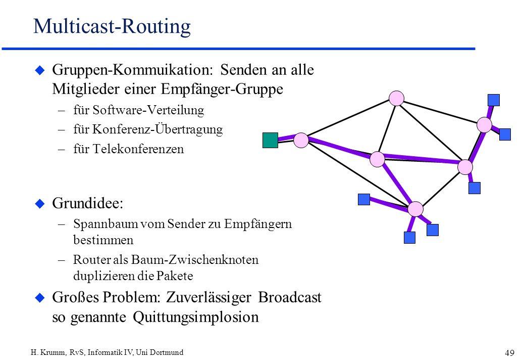 Multicast-Routing Gruppen-Kommuikation: Senden an alle Mitglieder einer Empfänger-Gruppe. für Software-Verteilung.